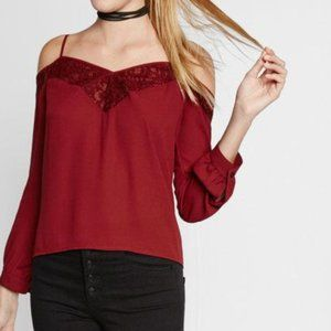 EXPRESS Cold Shoulder Lace Long Sleeve Blouse Red